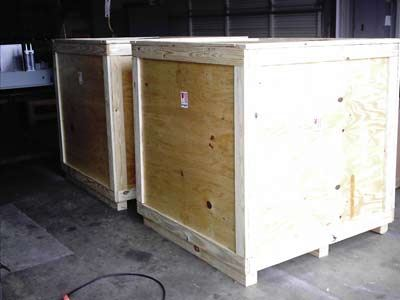 two commercial packing crates