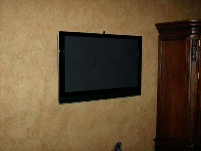 tv mounted on a wall