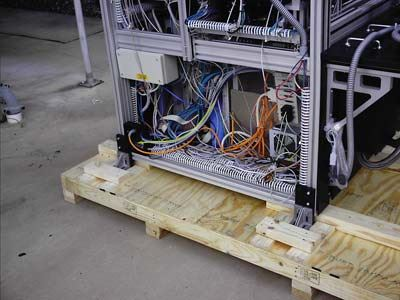 closeup of commercial product secured in a crate