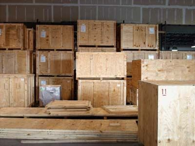 packing crates stacked in a building