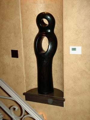 tall, black artistic sculpture